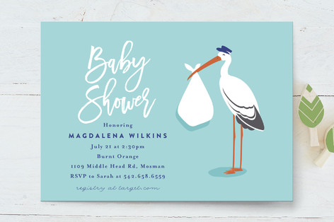 The Stork Baby Shower Invitations By Kampai Design Minted
