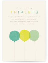 This is a colorful baby shower invitation by Lori Wemple called Triplets with standard printing on signature in standard.