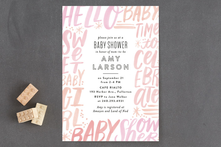 """""""Word Play Frame"""" - Modern, Bold typographic Baby Shower Invitations in Blush by Alethea and Ruth."""