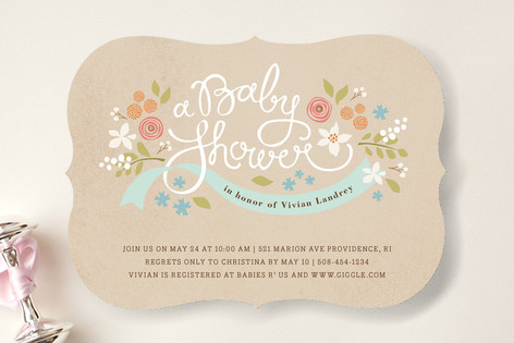 rustic ribbons and flora baby shower invitations  minted, Baby shower