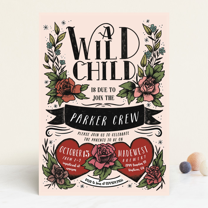 """""""Wild Child"""" - Whimsical & Funny Baby Shower Invitations in Blush by Shiny Penny Studio."""