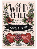 This is a pink baby shower invitation by Shiny Penny Studio called Wild Child with standard printing on signature in standard.