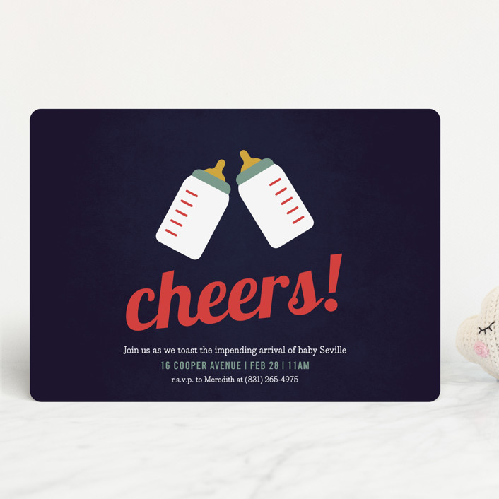 """""""Cheers!"""" - Preppy Baby Shower Invitations in Navy by Picklelily."""