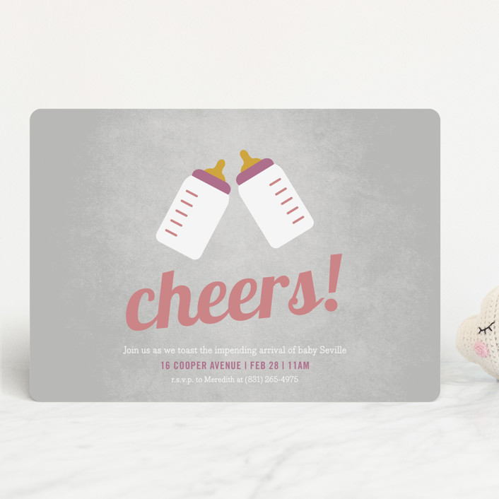 """""""Cheers!"""" - Preppy Baby Shower Invitations in Grey by Picklelily."""