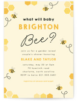 This is a yellow baby shower invitation by Jen Banks of Ink and Letter called Newbee with standard printing on signature in standard.
