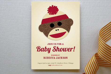 sock monkey baby shower invitations by jessie steu  minted, Baby shower
