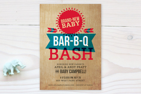 backyard barbeque baby shower invitations by susie  minted, Baby shower invitations