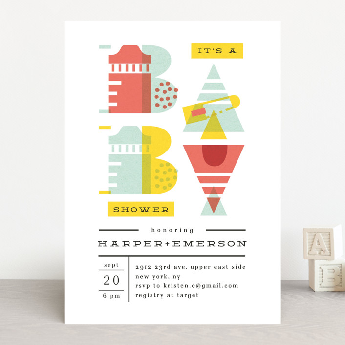 """""""De Stijl baby"""" - Baby Shower Invitations in Cherry by Ana de Sousa."""