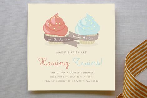 Double Cupcake Fun Baby Shower Invitations