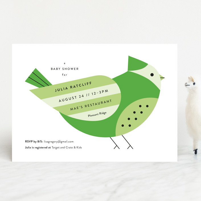 """Mod Bird"" - Baby Shower Invitations in Scarlet by Genna Cowsert."