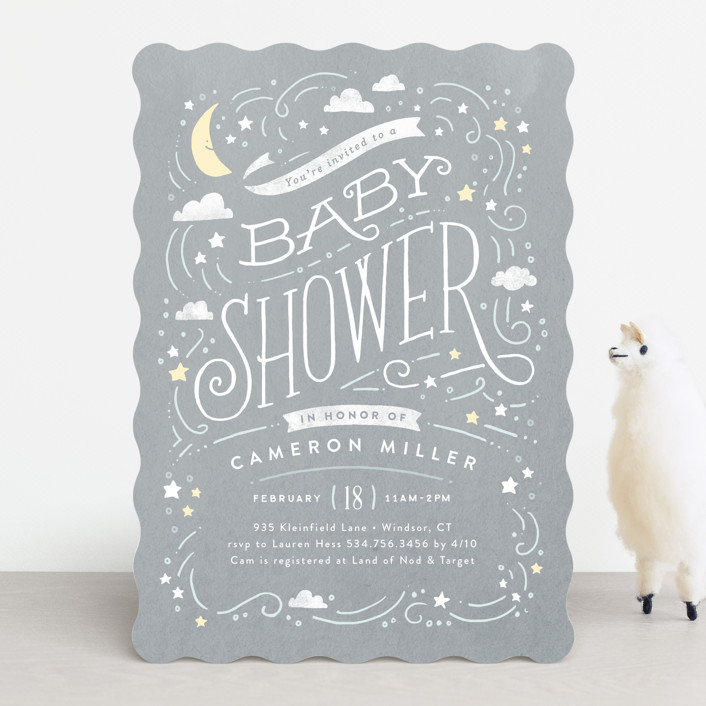 """""""Moon and stars"""" - Baby Shower Invitations in Midnight Blue by Jennifer Wick."""