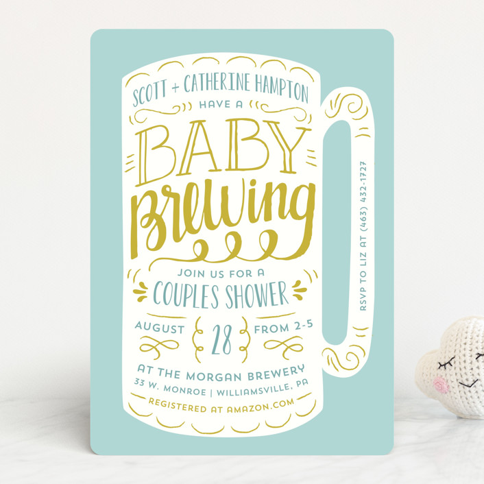 """""""Baby Brewing"""" - Bold typographic Baby Shower Invitations in Goldenrod by Laura Hankins."""