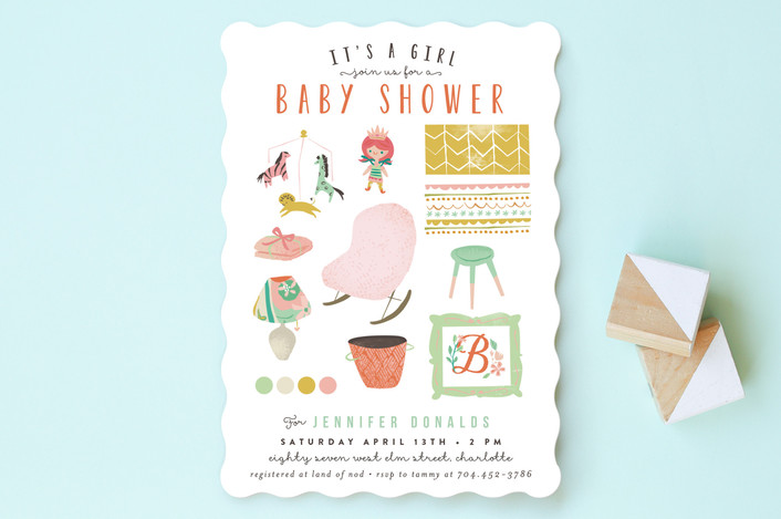 baby girl moodboard baby shower invitations by lor minted