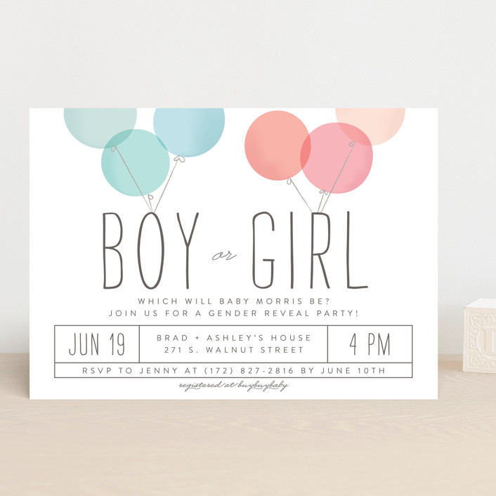 """Blow The Surprise"" - Modern Baby Shower Invitations in Aqua by Laura Hankins."
