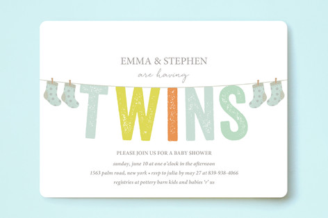 Twice The Fun Baby Shower Invitations