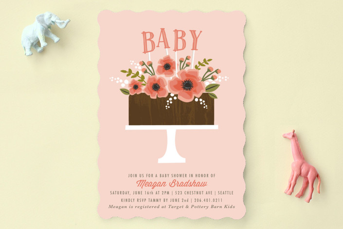 chocolate baby cake baby shower invitations by kar minted
