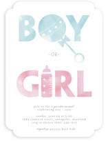 This is a blue baby shower invitation by Christy Vespa called Watercolor Reveal with standard printing on signature in standard.