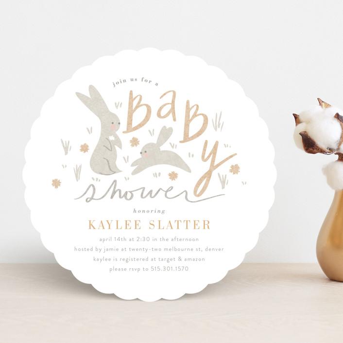 """bitty bunny"" - Baby Shower Invitations in Dusty Rose by Angela Garrick."