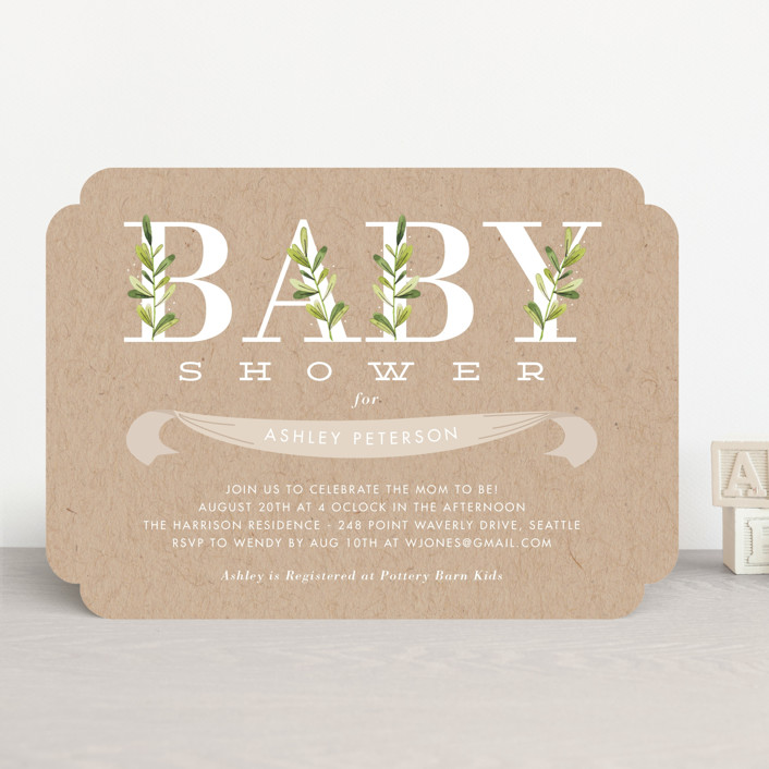 """Botanical"" - Baby Shower Invitations in Lilypad by Oma N. Ramkhelawan."
