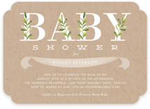 This is a green baby shower invitation by Oma N. Ramkhelawan called Botanical with standard printing on signature in standard.