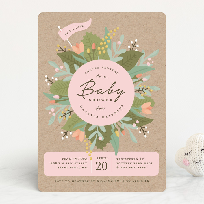 """""""Whimsical Wreath"""" - Baby Shower Invitations in Kraft by Michelle Taylor."""