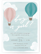 This is a blue baby shower invitation by Everett Paper Goods called Buoyant with standard printing on signature in standard.