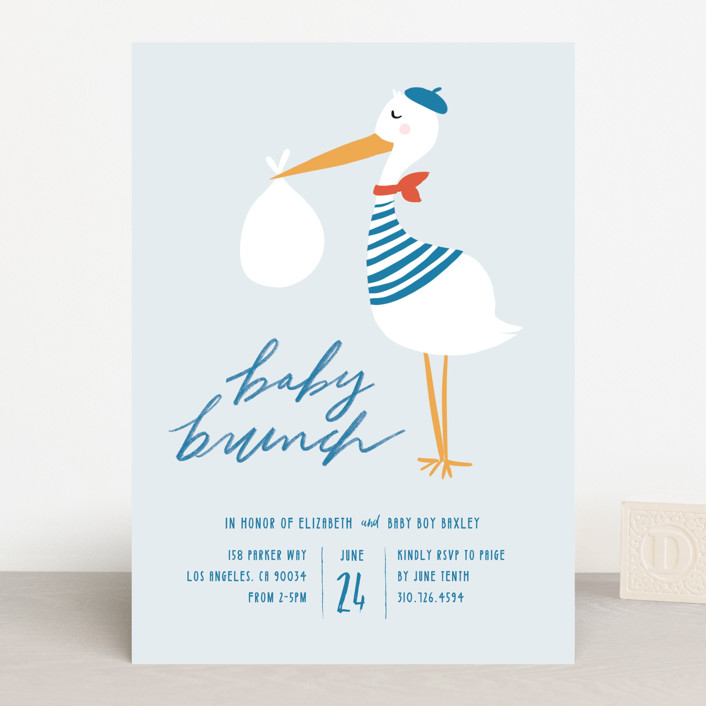"""bonjour baby brunch"" - Baby Shower Invitations in Oceana by Krissy Bengtson."