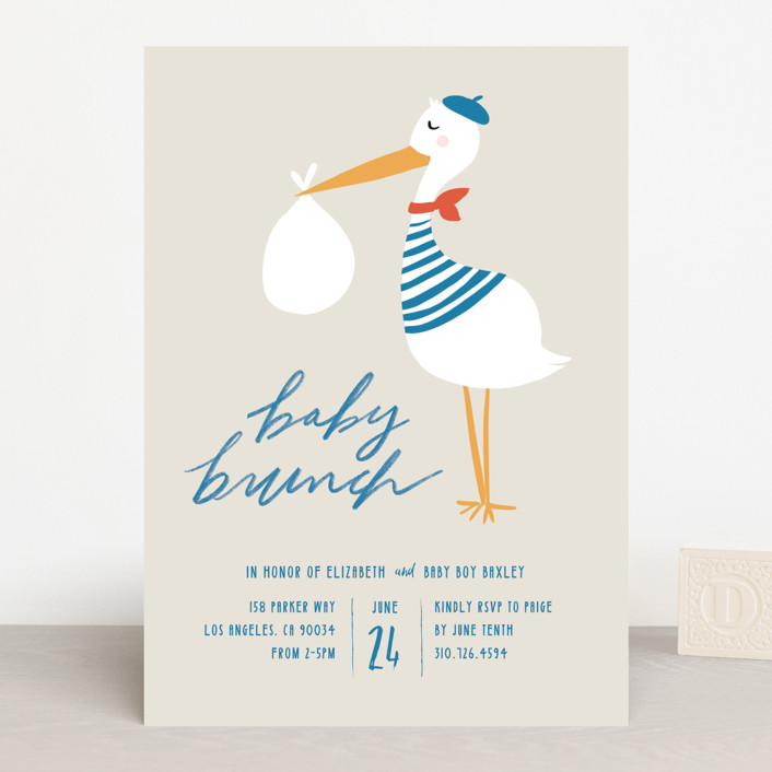 """bonjour baby brunch"" - Baby Shower Invitations in Oceana by Krissy Bengtson."