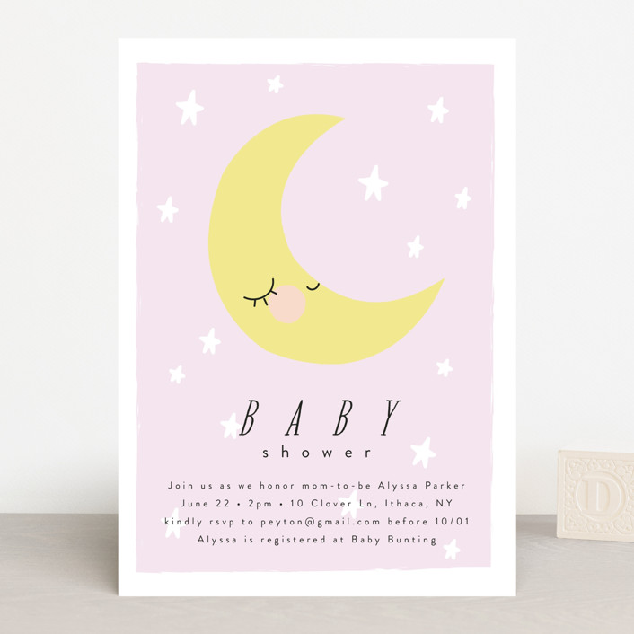 """Little Moon"" - Baby Shower Invitations in Buttermilk by Angela Thompson."