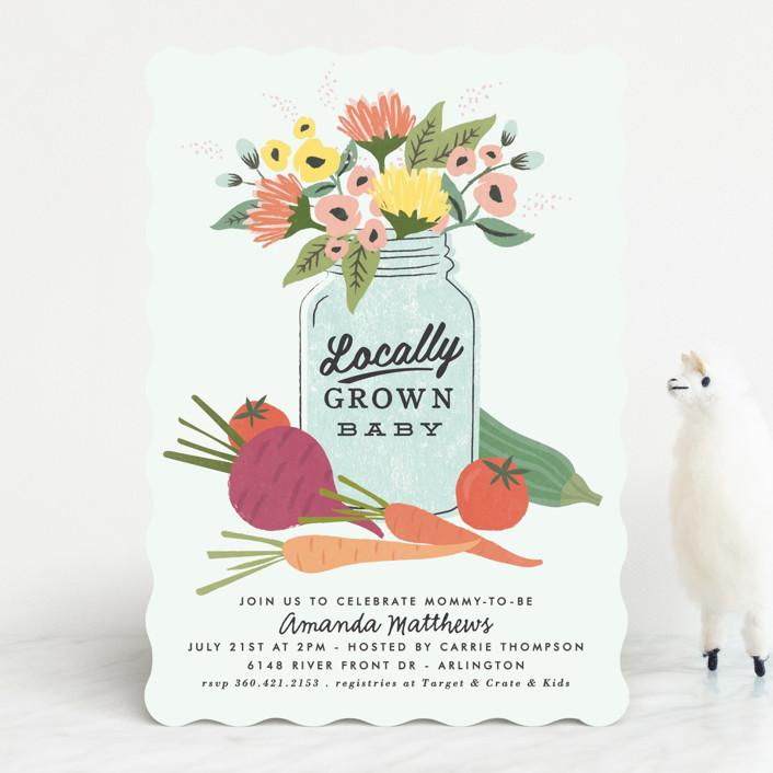 """""""farmers market"""" - Baby Shower Invitations in Mint by Karidy Walker."""