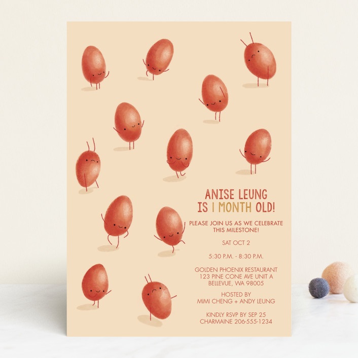 """""""Dancing Eggs"""" - Whimsical & Funny Baby Shower Invitations in Lychee by karin."""
