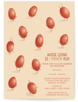 This is a orange baby shower invitation by karin called Dancing Eggs with standard printing on signature in standard.