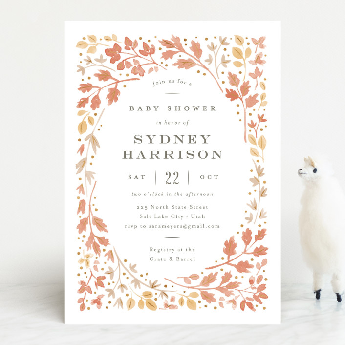 """""""Autumn Leaves"""" - Baby Shower Invitations in Maple by Robert and Stella."""