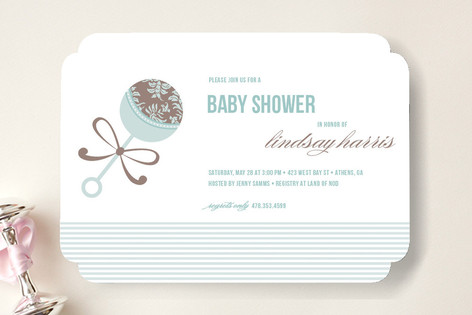 Elegant Rattle Baby Shower Invitations