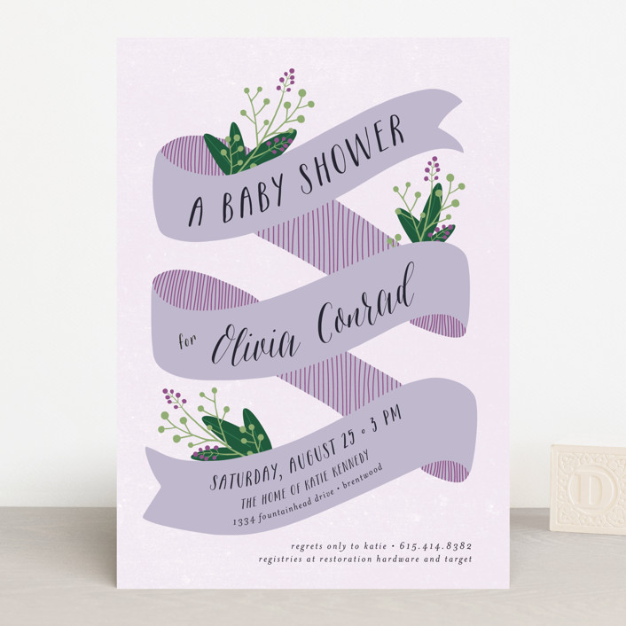 """Banner Baby"" - Baby Shower Invitations in Peach by Ella Weaver."