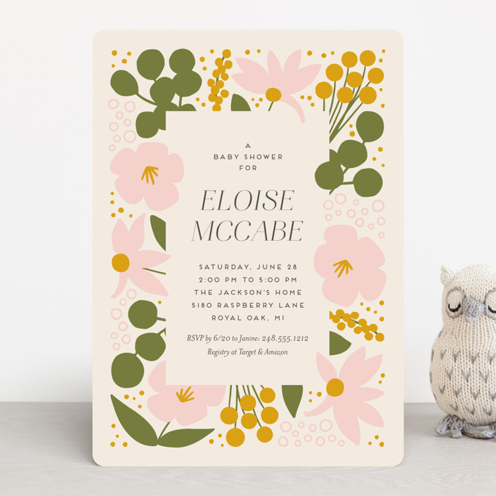 """""""Blossoms Abound"""" - Baby Shower Invitations in Chartreuse by Genna Blackburn."""