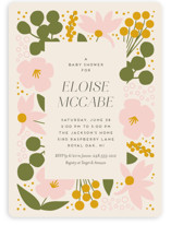 This is a green baby shower invitation by Genna Blackburn called Blossoms Abound with standard printing on signature in standard.