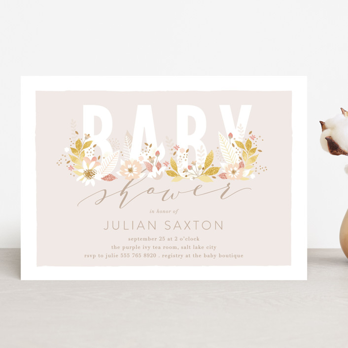 """""""Floral Baby Letters"""" - Baby Shower Invitations in Candy by Phrosne Ras."""