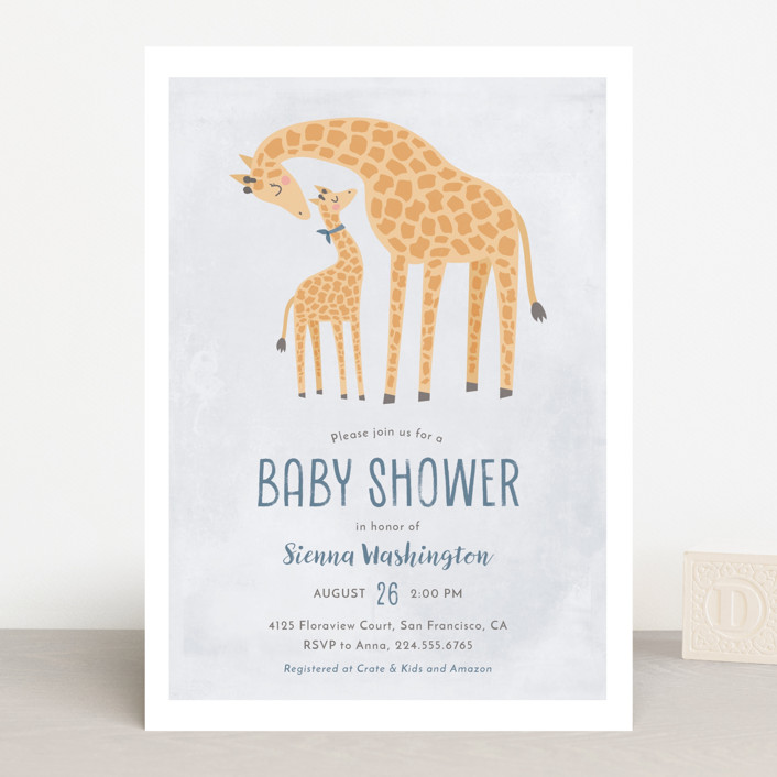 """Giraffe Love"" - Baby Shower Invitations in Bluebell by Ink and Letter."