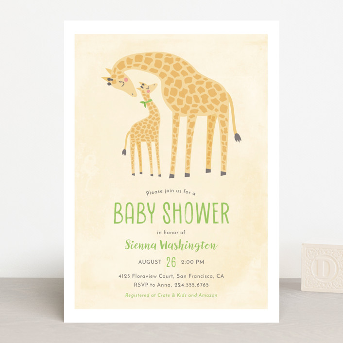 """""""Giraffe Love"""" - Baby Shower Invitations in Bluebell by Ink and Letter."""
