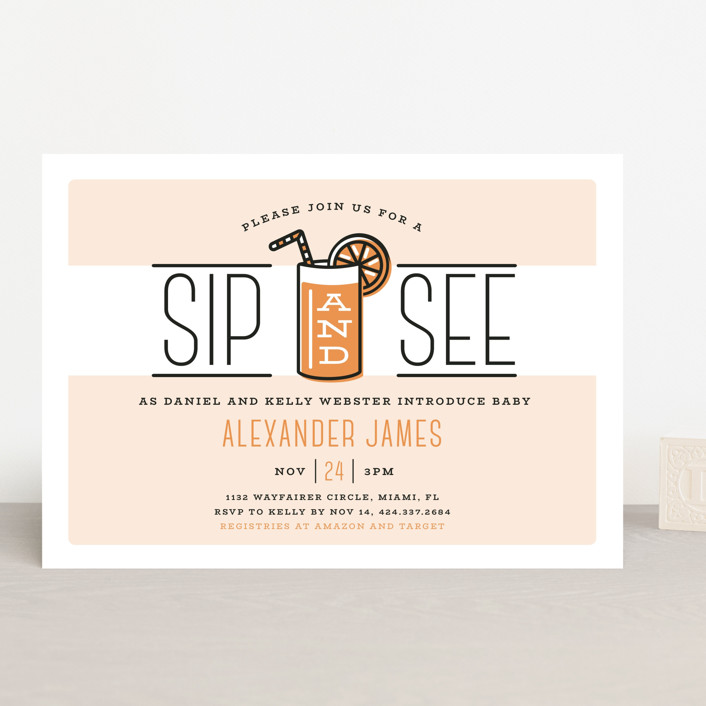 Sip And See Baby Shower Invitations By Ink And Letter Minted