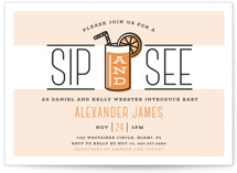 This is a orange baby shower invitation by Ink and Letter called Sip and See with standard printing on signature in standard.
