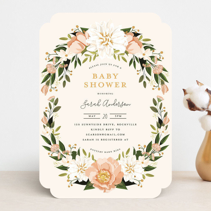 """""""Garden Shower"""" - Baby Shower Invitations in Petal by Susan Moyal."""