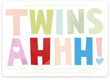 This is a green baby shower invitation by Baumbirdy called Twins Ahhh with standard printing on signature in standard.