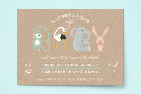 Animal Letters Baby Shower Invitations