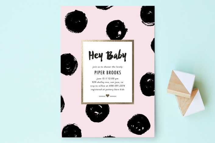 """""""Bold Dots"""" - Preppy Baby Shower Invitations in Cotton Candy by Simona Camp."""