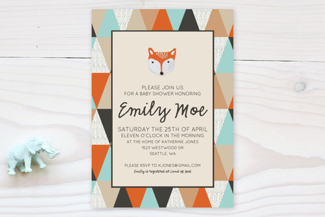 Fox Geometric Baby Shower Invitations