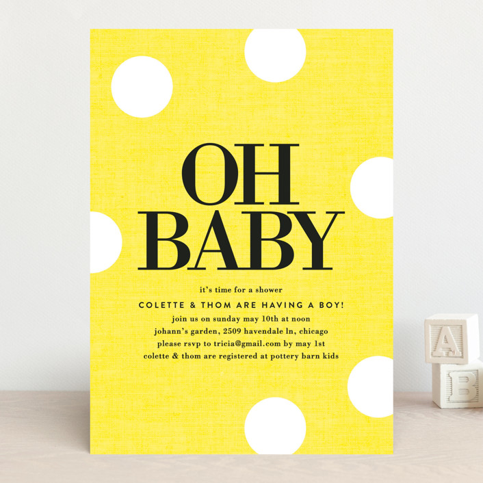 """""""Oh Baby Dots"""" - Modern, Simple Baby Shower Invitations in Denim by Baumbirdy."""