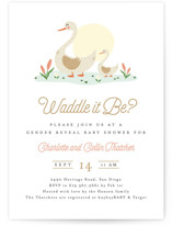 This is a white baby shower invitation by Erica Krystek called Waddle it Be? with standard printing on signature in standard.
