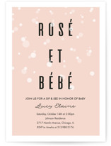 This is a pink baby shower invitation by Julie Hebert called Rosé Et Bébé with standard printing on signature in standard.